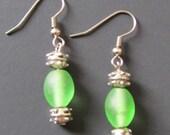 Shamrock Green Hand Blown Glass Bead Earrings By Glitzy Glass Designs