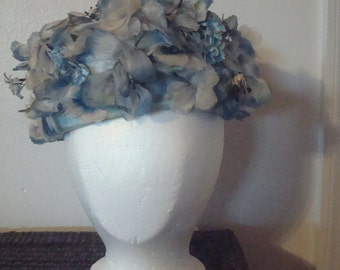 Vintage light blue flowery hat by LISA of NY and Paris