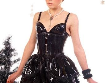Halloween  SLICK Pvc  Bustle Skirt  STEAMPUNK goth BURLESQUE