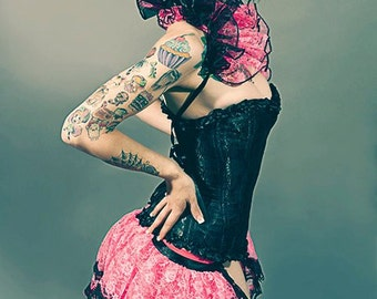 Pink ENCHANTMENT  Burlesque Bustle Skirt PIN UP Showgirl By Gothic Burlesque
