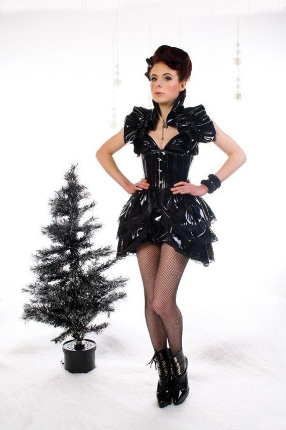 Slick  Pvc   BURLESQUE  Bustle Skirt  and Shrug SET goth STEAMPUNK. by Gothic Burlesque