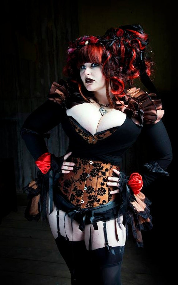 Plus Size Steampunk Diva Burlesque Bustle Skirt And Shrug-3231