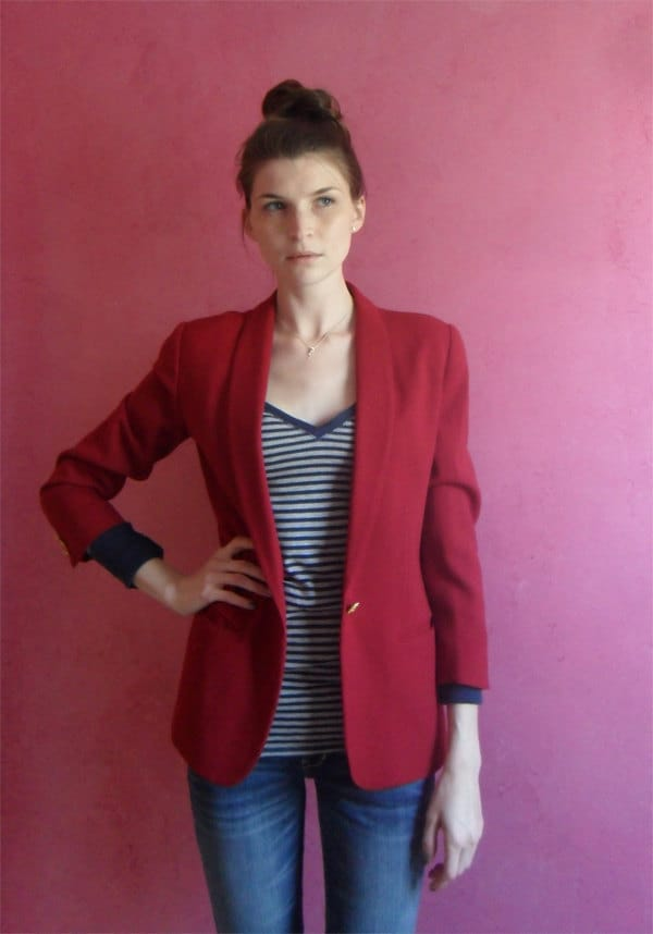 Vintage Maroon Blazer With Gold Buttons Nautical