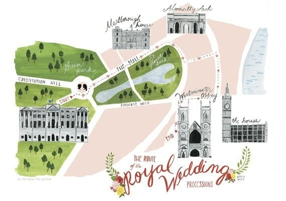 Processional map of royal wedding of William and Kate Letterpress and giclee print