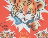 Vintage 1950 striped cute Tiger Cub red greeting  card