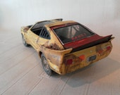 1970s Yellow and Red Mustang Cobra Wrecked Junker 1/24 scale car model