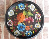 Large Bright Colored Vintage Folk art Handpainted Flowers on Black Wooden Mexican bowl