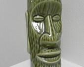 Vintage Green Glazed Easter Island Head Tiki  Mug