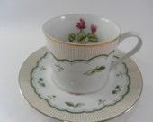 Vintage Pretty  George Briard Victorian Garden pattern  Teacup,  Saucer Pink Cylamen Flower