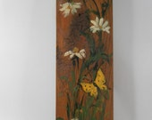 Vintage Handpainted yellow butterfly, white daisy and mushrooms on wooden piece