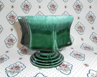 Vintage Beautiful Green Glazed Unusual Shaped Hull Planter with Pedestal