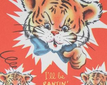 Vintage 1950 striped cute Tiger Cub red greeting  card