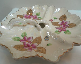 Vintage Sweet Shabby Chic Pink  with Yellow Roses Painted Fancy Dish with Handle