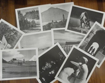 Vintage  TEN Large Black and White  Large Images of Quebec  Canada Paper Posters Photos 10 scenes