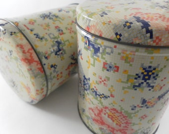Vintage Sweet  Cookie Tin Boxes Canisters set of Two with Pretty  Cross stitch pattern