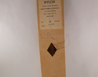 Vintage Waxed Nylon Brown Thread  Skein in Cardboard Sleeve  from New York City