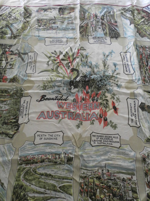 Vintage Western Australia Souvenir Colorful Womens Scarf or Tablecloth or Wallhanging