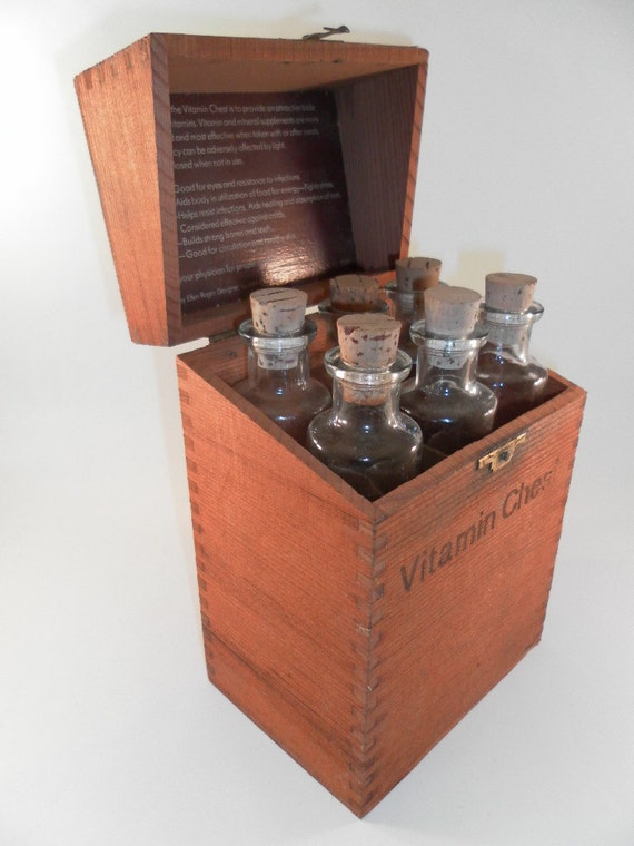 Vintage Cool Wooden Box Apothecary Chest Pill Vitamin Bottle