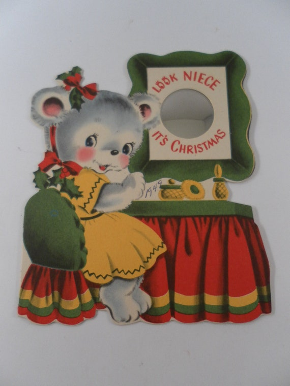 Vintage 1950s Darling Gray Girl Bear  in yellow dress with Rosy cheeks at dressing table  Christmas Card with plastic mirror