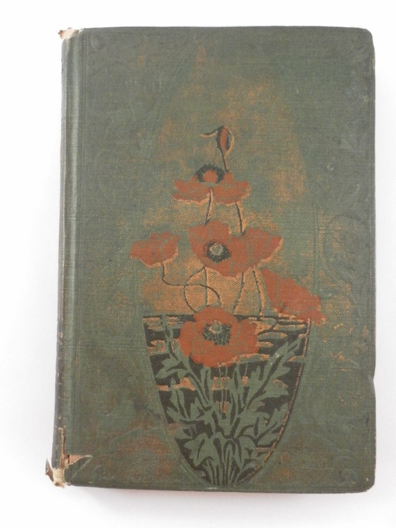 Vintage Green and Poppy Red Cover Lady of the Lake Old Poetry Book