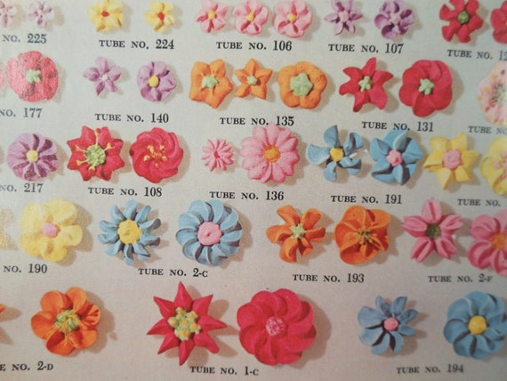 Wilton Flower And Cake Design Book : Vintage TWO Wilton Cake and Food Decorating Instructional and