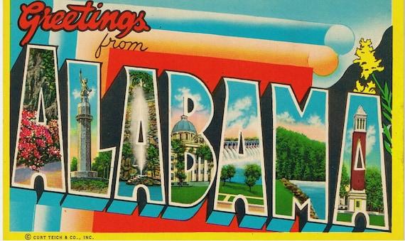 Vintage Large Letter Postcard  Alabama - Greetings