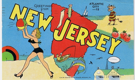 Vintage Postcards -New Jersey -  Greetings From Atlantic City