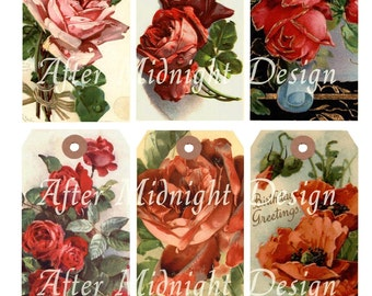 Tags No 21 Red Flowers Vintage Birthday Greetings Shipping Tags