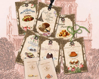 Bakery Tags French Patisseri Gateau Tags Cards Journaling Scrapbooks ATC Paper art