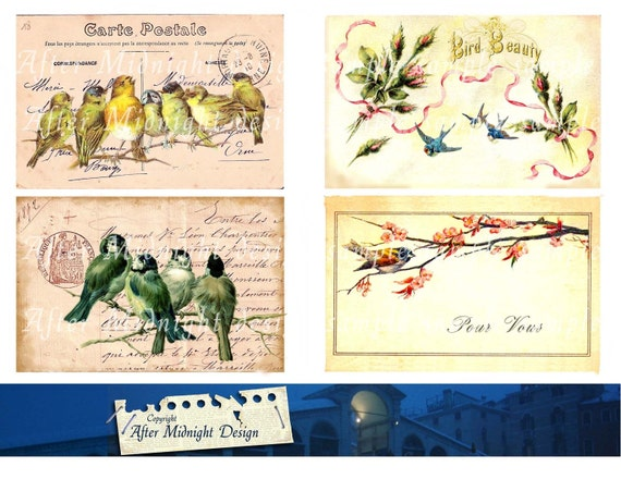 POSTCARD BIRDS No 4 Digital Download Vintage Romantic French and Victoria Style Birds and Flowers