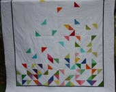 Queen Size Modern Quilt - Falling Half Square Triangles