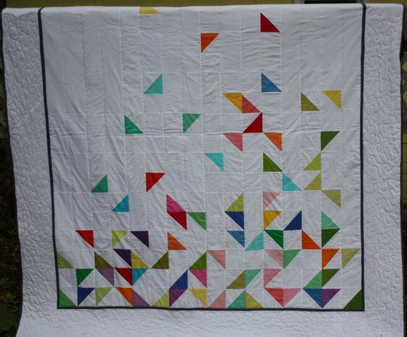 Queen Size Modern Quilt Falling Half Square by ...