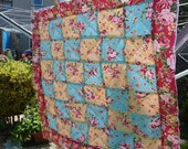 Small bright rosey patchwork quilt, perfect for sun shine and picnics