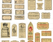 Instant Digital Download Collage Sheet Antique 1800's Vintage Druggist Apothecary Pharmacy Mini Miniature Bottles Labels Halloween 50% (89)