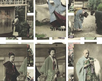 Digital Download Collage Sheet Vintage Asian Japan Japanese Culture Photos 1x2 Domino (79)