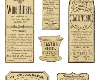 Digital Download Collage Sheet Antique 1800's Vintage Apothecary Drugstore Druggist Pharmacy Bottle Labels Altered Art Tonic Oil (107)