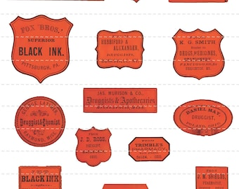Digital Download Collage Sheet  Antique 1800's Vintage Drugstore Apothecary Pharmacy Druggist Labels Altered Art Tonic Oil (111)