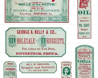 Digital Download Collage Sheet Antique 1800's Vintage Antique Old Druggist Apothecary Pharmacy Drugstore General Store Labels 8 (112)