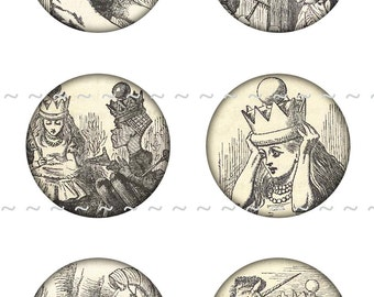 Instant Digital Download Collage Sheet Vintage Alice In Wonderland 1890's III Bottle Caps 1 Inch Circles White Rabbit Mad Hatter (6)