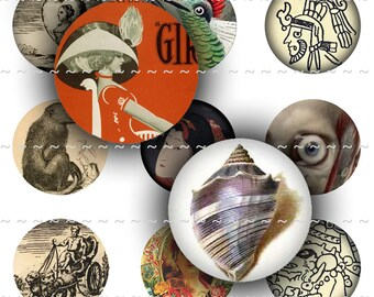 Digital Download Collage Sheet Vintage 1 Inch Circle Sampler I Bottle Caps Apothecary Labels Tarot Cards Seashells Eyes Aztec Emblem Posters