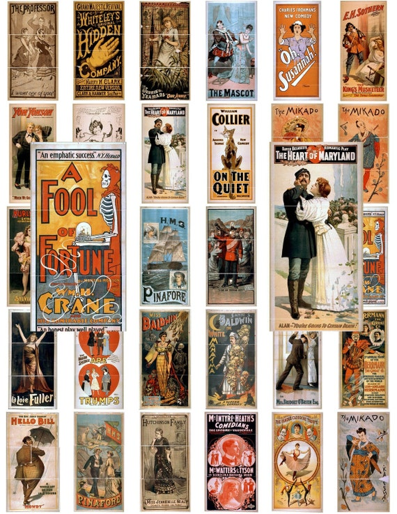 Digital Download Collage Sheet Vintage Theatre Magic Comedy Performing Arts Posters 1x2 Domino Old Time Antique Dollhouse Miniature Mini