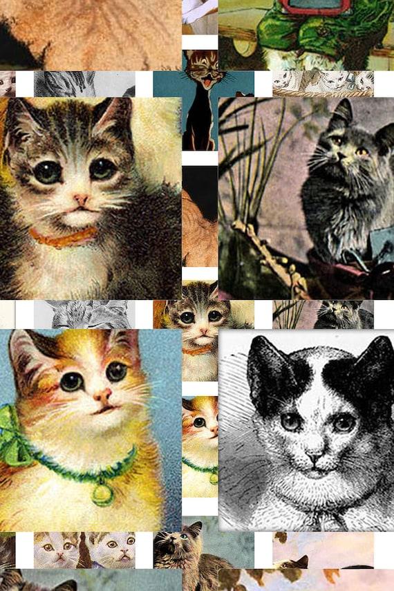 Digital Download Collage Sheet 1X1 Squares Vintage Cats Kittens Tiles (38)