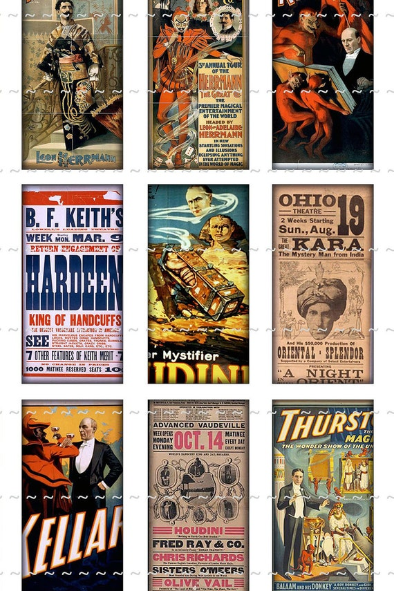 Digital Download Collage Sheet 1x2 Domino Vintage Magic Magician Mentalist Posters Houdinin Thurston (57)