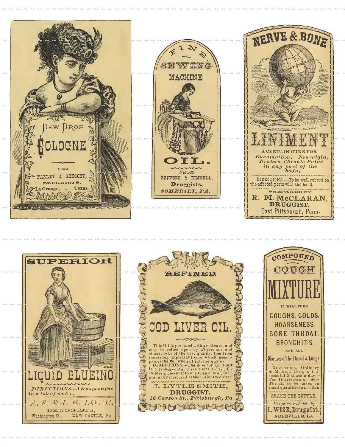 Antique Apothecary Labels Digital Download Vintage Pharmacy