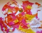 Newborn Girl 0-3M Tie Dye Cotton Set Includes Onesie, Skirt, Bib, Socks and Hat