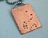 Draco - Constellation Necklace - Hand Stamped Copper and Sterling Silver Chain