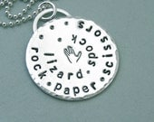 Rock Paper Scissors Lizard Spock - Big Bang Theory - Unisex - Sterling Silver Necklace