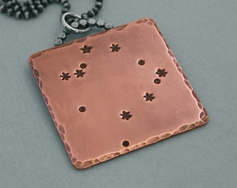 Constellation Necklace - Ophiuchus - Hand Stamped Copper and Sterling Silver Chain