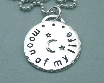 """Moon of My Life - Game of Thrones Jewelry - Hand Stamped Sterling Silver 3/4"""" Disc"""
