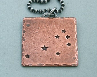 Seven Sisters Constellation Necklace - The Pleiades - Hand Stamped Copper and Sterling Silver